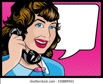 Vintage Comic Style Woman on the Phone