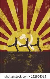Vintage Communist Poster, vector