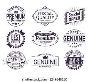 Vintage company logo or retro brand sign with ribbons. Set of isolated guarantee stamp or quality certificate badge, classic product labels or aged sticker. Branding and trading, business theme