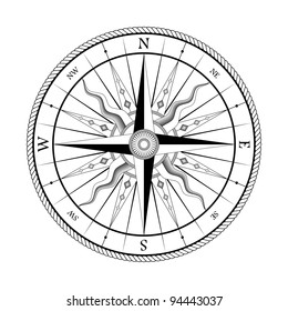 Vintage compass for design isolated on white background