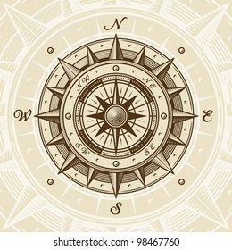 Vintage compass. EPS8 vector illustration in woodcut style with clipping mask.
