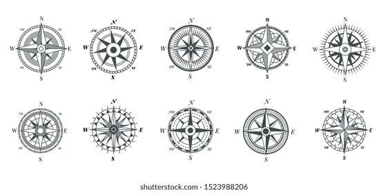 Vintage compass. Nautical wind rose, compasses for travel map, vintage marine navigation arrow symbols, retro outline vector set