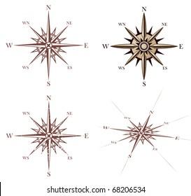 Vintage compass rose set