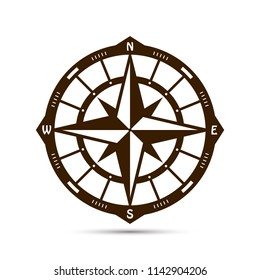 Vintage compass vector template for cutting. Panel for interior decoration. Contour drawn in one layer.