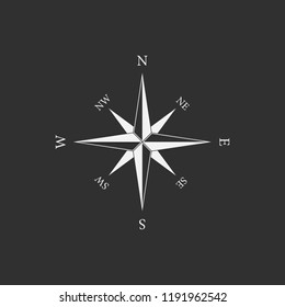 Vintage compass with wind-rose. Isolated on black background. Vector illustration, eps 8.