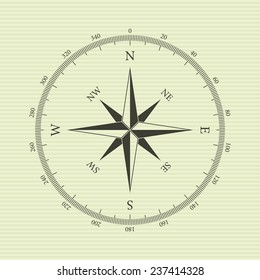 Vintage compass with wind-rose. Isolated on yellow background. Vector illustration, eps 8.