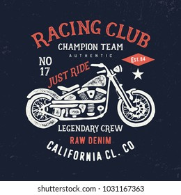 Vintage composition motorcycle  typography. T shirt for print. Vector illustration