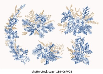 Vintage compositions with winter plants, berries and flowers. Mistletoe, hellebore, pine, spruce, holly, fern. Christmas bouquet. Vector botanical illustration. Blue and gold.