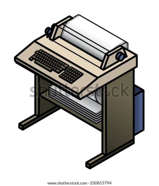 Vintage Computing Teleprinter เวกเตอร์สต็อก (ปลอดค่า