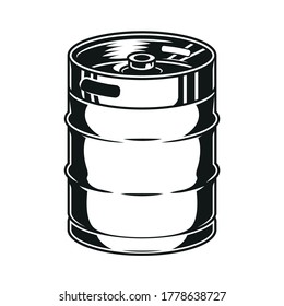 Vintage concept of metal beer keg in monochrome style isolated vector illustration