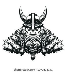 Vintage concept of strong viking warrior wearing horned helmet in monochrome style isolated vector illustration