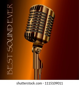 Vintage concert audio microphone for karaoke, radio or studio records. Party sound system. High quality vector illustration mic isolated on background.
