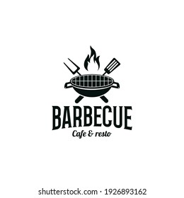 Vintage Cook ,Cooking, Grill, Barbecue with crossed fork, spatula and fire flame Logo design