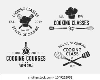 Vintage cooking emblems. Cook and Food labels, emblems, logo. Culinary school, food studio, cooking courses. Vector Cooking logo set. Logo template.