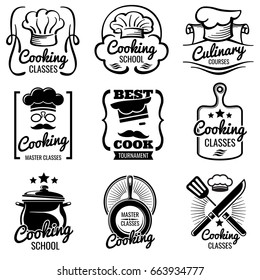 Vintage cooking in kitchen classes vector silhouette labels. Cook workshop emblems. Gourmet logos collection, illustration of cooking label for school or classes