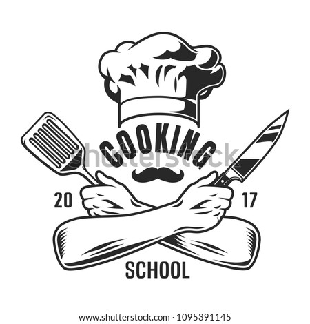 79820febc6cb3 Vintage cooking logo with hat crossed chef hands holding knife and spatula  isolated vector illustration