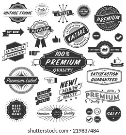 Vintage Copyspace Design Elements - Set of black and white vintage frames, banners, labels and ornaments.  Each design is grouped and colors are global for easy editing.