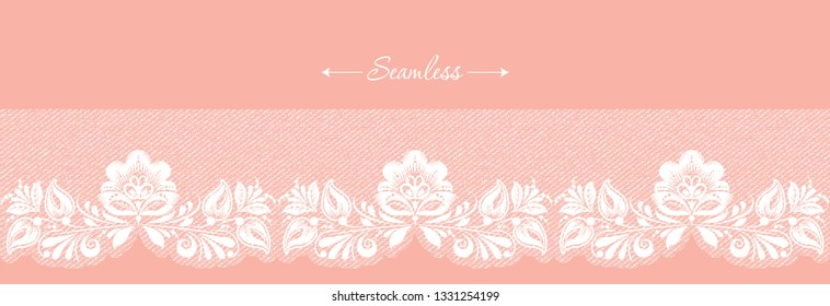 Vintage coral floral seamless lace trim header, great design for any purposes. Decorative ornate banner with flower. Modern fashion pattern. Vector abstract graphic design. Flower graphic border.