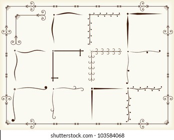 Vintage corner design elements, vector eps10 illustration
