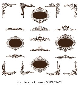Vintage corners, frames, borders in an old baroque. Components Graphics Black decorative pattern with floral motifs on a white background.