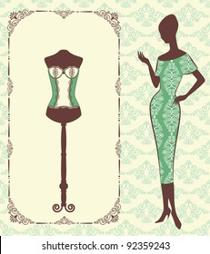 Vintage corset with beautiful ornament on the background. Vector