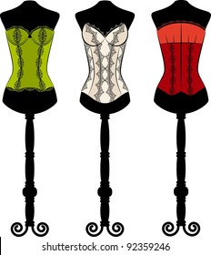 Vintage corset with beautiful ornament on the background. Vector set