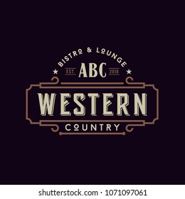 Vintage Country Emblem Typography for Western Bar/Restaurant Logo design inspiration