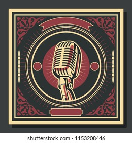Vintage Cover Background with Microphone Obey Style