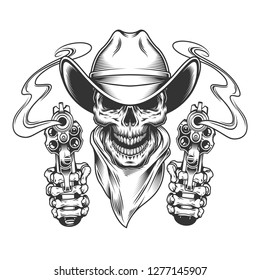 Vintage cowboy skull in neck scarf and skeleton hands holding guns isolated vector illustration