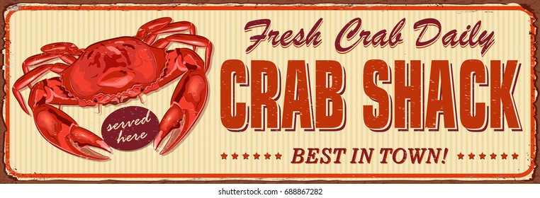 Vintage Crab Shack metal sign.