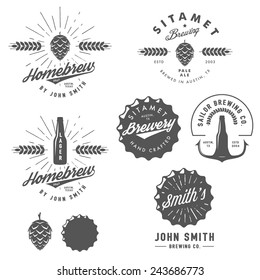 Vintage craft beer brewery emblems, labels and design elements