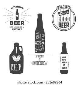 Vintage craft beer brewery emblems, labels and design elements. Vector typography illustrations. For example, it can be printed on t-shirts.