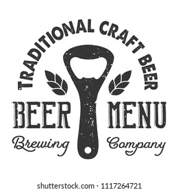 Vintage craft beer logo concept wigh tin opener, hop barley ear and inscriptions isolated vector illustration