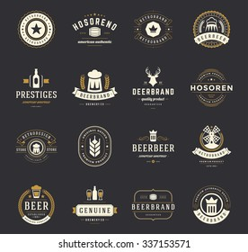 Vintage craft beer logos and badges with barrels, hop cones and beer glass mugs symbols vector illustration. Typographic logotypes set.