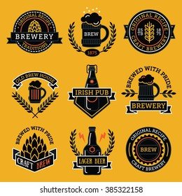 Vintage craft beer retro design elements, emblems, symbols, icons, pub labels, badges collection. Beer Business signs template, logo, brewery identity concept