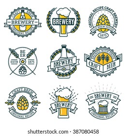 Vintage craft beer retro design elements, emblems, symbols, icons, pub labels, badges collection. Beer Business signs template, logo, brewery identity concept.