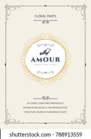 Vintage creative card template with beautiful flourishes ornament elements. Elegant design for corporate identity, logo, invitation, book covers. Design of background products.