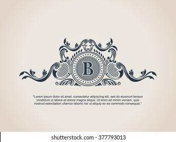 Vintage crest logo Elements Flourishes Calligraphic Ornament. Letter B. Elegant emblem template monogram luxury frame. Royal line logo. Vector sign for restaurant, boutique, heraldic, cafe, hotel