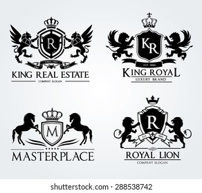 Vintage Crests logo collection, emblem ,real estate, crests with crown lion and horse brand identity.