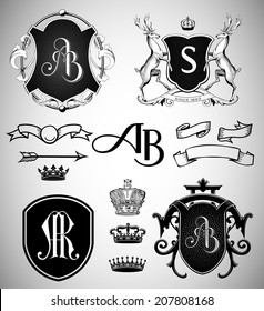 Vintage Crests, Ribbons, Monograms and Crowns Collection