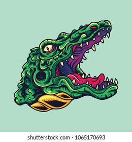 Vintage Crocodile / Alligator Head Old School Tattoo Illustration