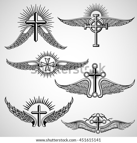 Vintage Cross And Wings Tattoo Vector Elements With Wing Illustration