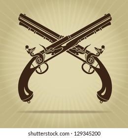 Vintage Crossed Flintlock Pistols