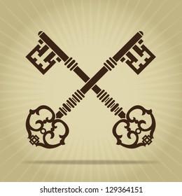 Vintage Crossed Keys Silhouette