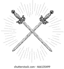 Vintage crossed long swords. Two ornate hand drawn sabers and rays. Vintage elements. Hipster style. Vector illustration.
