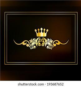 vintage crown in a gold  frame. Vector