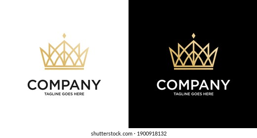 Vintage Crown Logo Royal King Queen abstract Luxury Logo design vector template. Geometric symbol Logotype concept icon.
