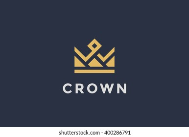 Vintage Crown Logo Royal King Queen abstract Logo design vector template. Geometric symbol Logotype concept icon.