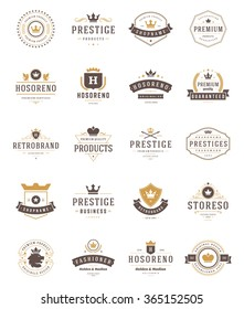 Vintage Crowns Logos Set. Vector design elements, Premium Quality Labels, Crown Vector, King Crown, Crown Icons, Crown Symbols.  Crest Logos, Royal Logos, Hotel Logos, Vintage Logo, Heraldic Logos.
