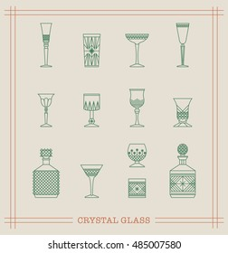 Vintage Crystal Glasses Icon Set with cut-glass decanter, whiskey glass, wine glass and different drinks. Thin line style design